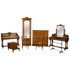 19th Century Aesthetic Movement Pitch Pine Seven-Piece Bedroom Suite