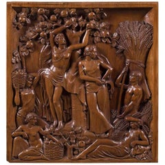 Vintage French Art Deco Walnut Sculpture Panel, circa 1930