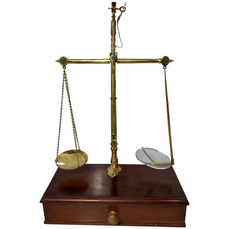 Antique English Mahogany and Brass Apothecary Scale Signed R. Avery Company For Sale