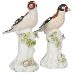 Pair of Derby Figures of Birds, 18th Century Goldfinches