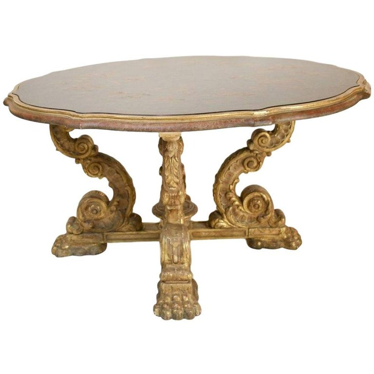 Italian Grotto Style Table with Polychrome Leather Top on Giltwood Base