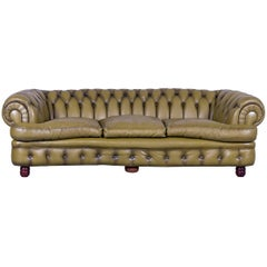 Chesterfield Sofa Green Three-Seat Leather Couch Vintage Retro Curved