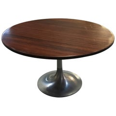 Italian Side Table with Aluminium Base and Rosewood Top from 1960s
