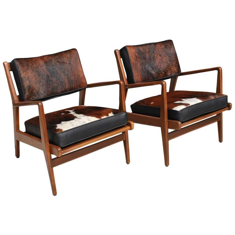 Pair of Vintage Midcentury Restored Jens Risom Lounge Chairs For Sale