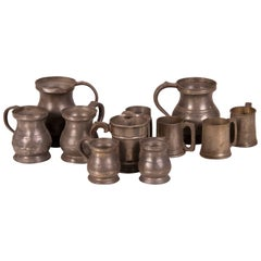 Set Antique English Pewter Cups and Pitchers, circa 1850