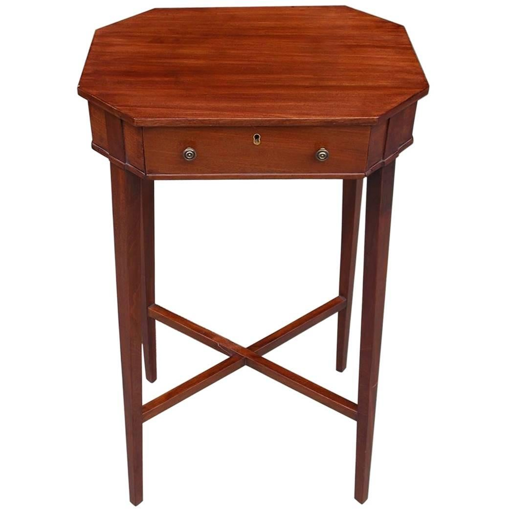 English Hepplewhite Mahogany One Drawer Octagon Side Table, Circa 1800