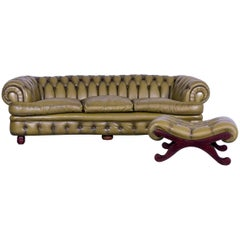 Chesterfield Sofa Set Green Three-Seat Footstool Leather Couch Vintage Curved