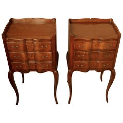 Pair of French Walnut and Ormolu Bedside Cabinets with Drawers