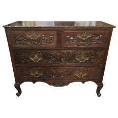 Carved Walnut Queen Anne Style Lowboy with Four Drawers