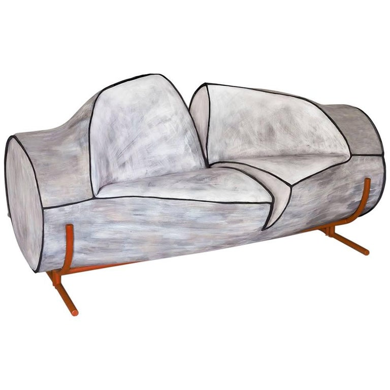 Contemporary Slashed Foam Sofa On Powder Coated Steel Frame And Legs  For Sale