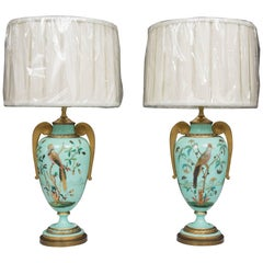 19th Century Hand-Painted French Opaline Lamps