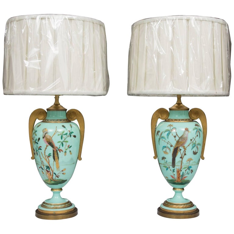 19th Century Hand-Painted French Opaline Lamps For Sale