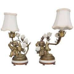 Pair of 19th Century French Bronze Lamps with Putti