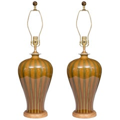 Gold and Green Striped Modern Table Lamps