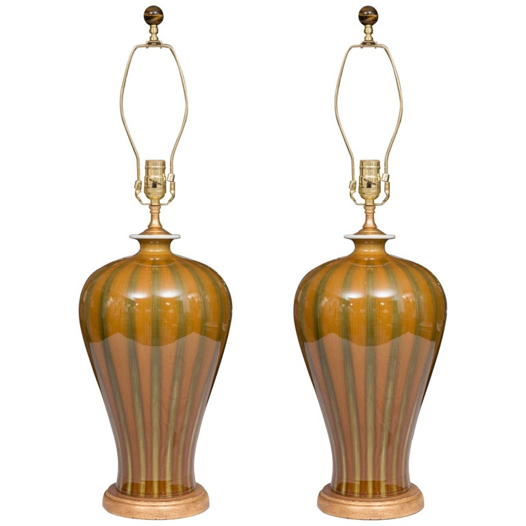 Gold and Green Striped Modern Table Lamps For Sale