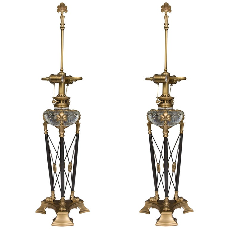 Modern Pair of Stylized Empire Table Lamps For Sale