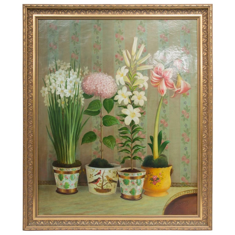 "Oil Painting of ""Potted Flowers Still Life"" For Sale"