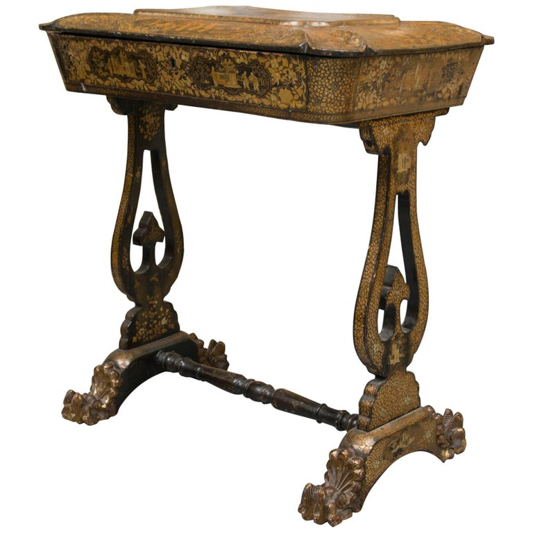 Regency Pen Work Sewing Table For Sale