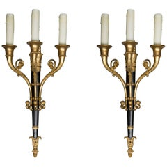 Pair of Empire Style Brass and Ebonized Sconces