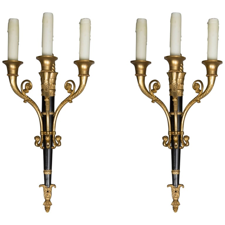 Pair of Empire Style Brass and Ebonized Sconces For Sale