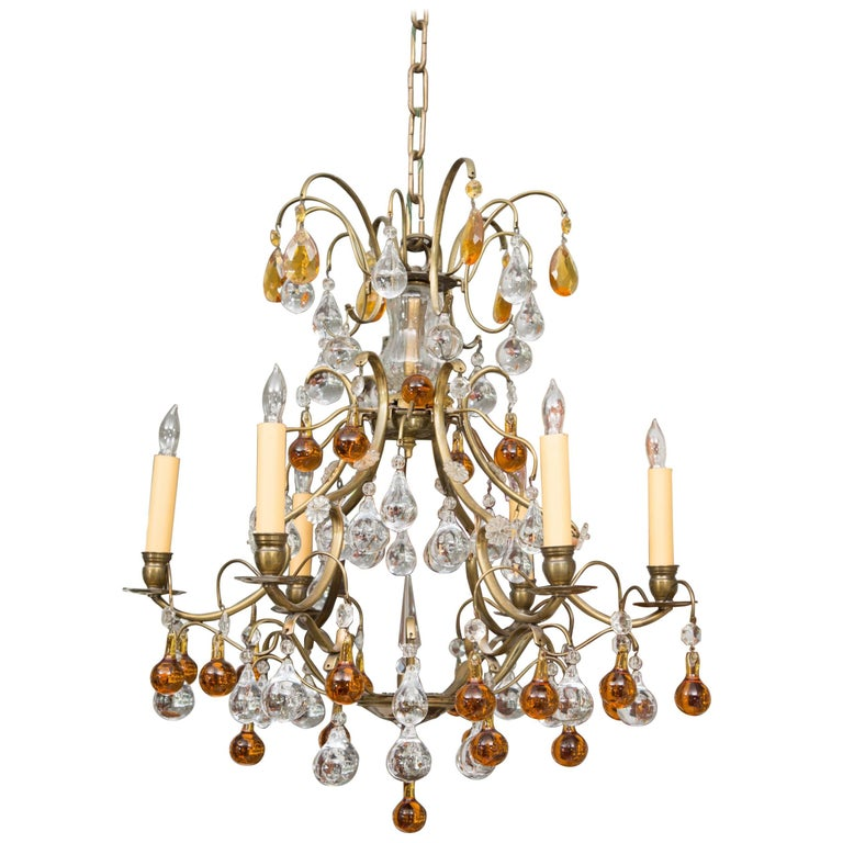 Chandelier with Clear and Amber Drops