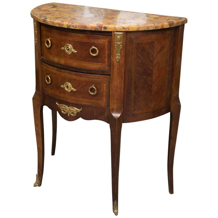 Louis XV Style French Demilune Commode with Marble Top For Sale
