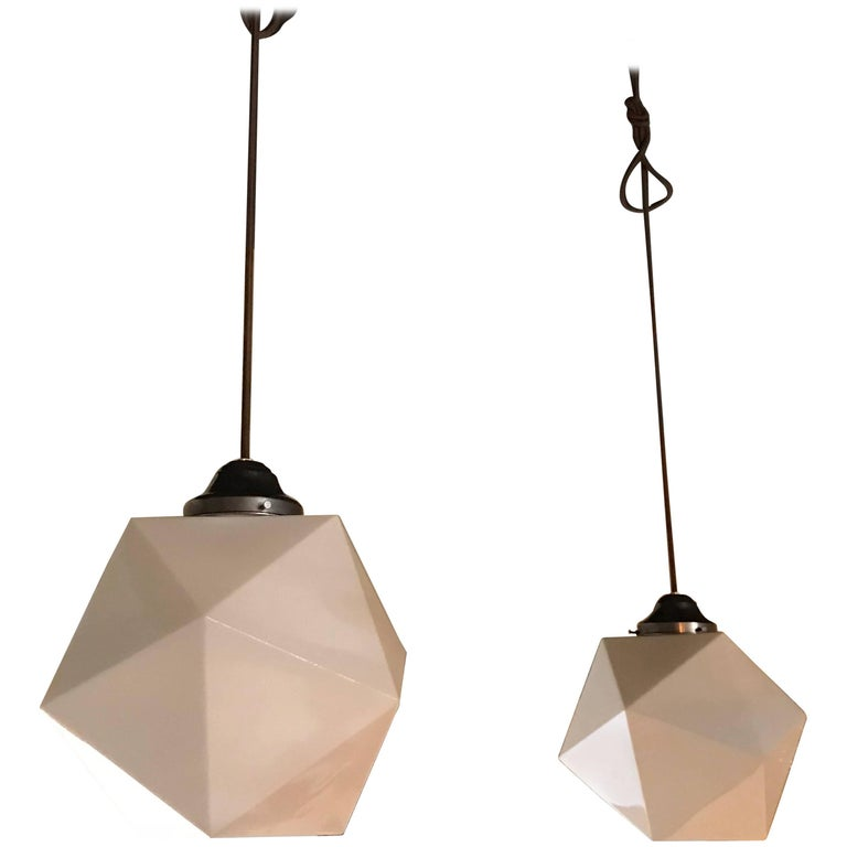 Mid-Century Modern Faceted Milk Glass Geometric Pendant Lights