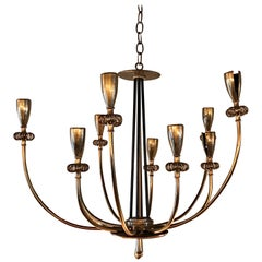 Brass Floral Ten-Arm Flush Mount Chandelier Fixture by Paavo Tynell