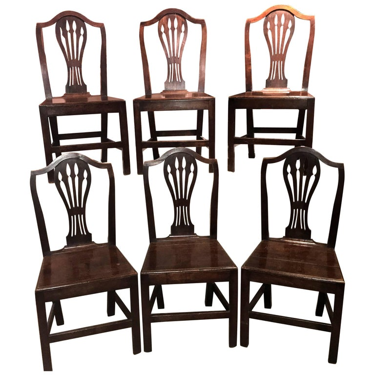 Set of Six English Georgian Oak Country Dining or Side Chairs