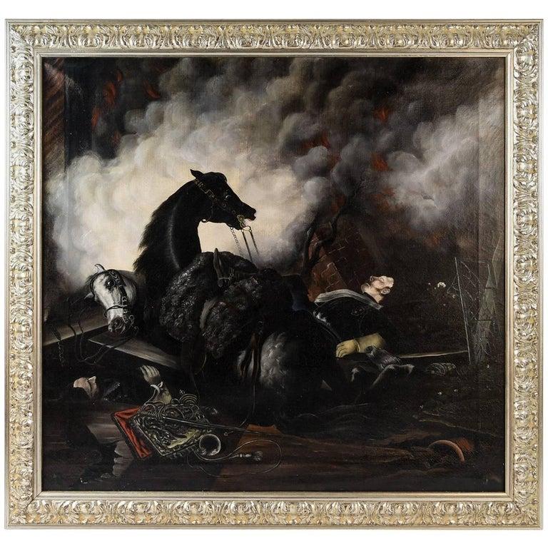 19th Century War Battle Scene Oil on Canvas