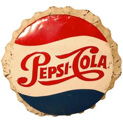 Large Round Pepsi Cola Enamel Advertising Sign