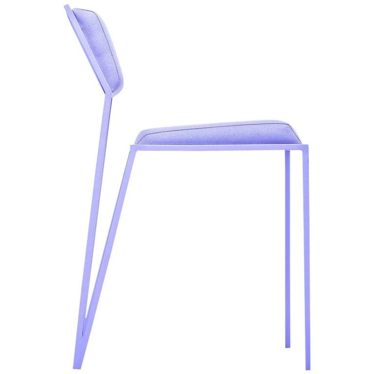 Minimalist Chair in Steel, Brazilian Contemporary Design, Lavender