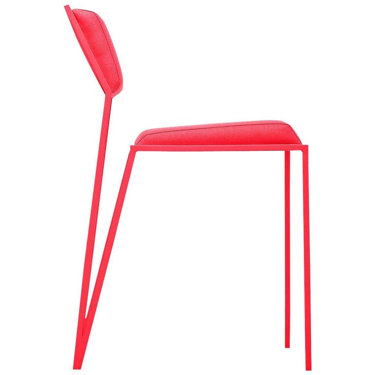 Minimalist Chair in Brazilian Contemporary Design, Steel and Smooth Linen