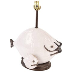Fantoni Italian Ceramic Double Fish Lamp