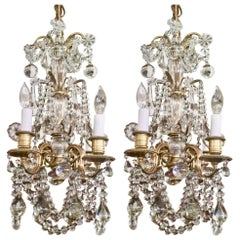 Pair of Antique French Bronze Doré and Baccarat Crystal Chandeliers, circa 1880