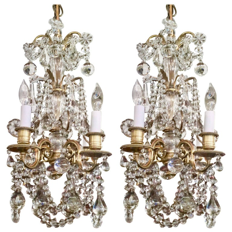 Pair of antique french bronze dor and baccarat crystal chandeliers pair of antique french bronze dor and baccarat crystal chandeliers circa 1880 for sale aloadofball Image collections