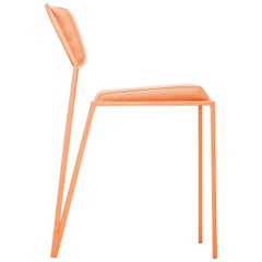Minimalist Chair in Steel and Smooth Linen, Brazilian Contemporary Style, Orange
