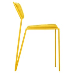 Minimalist Chair in Smooth Linen and Steel, Brazilian Contemporary Style