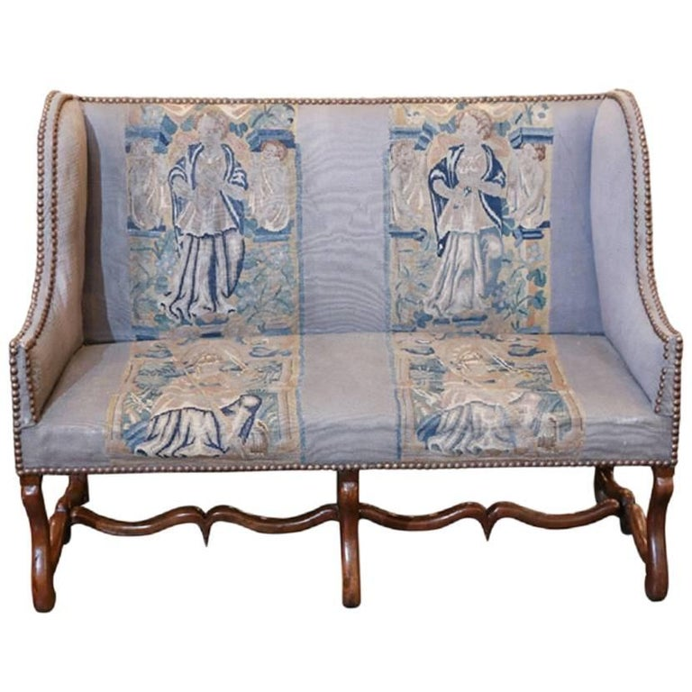 French Mouton Settee Upholstered in Original Tapestry