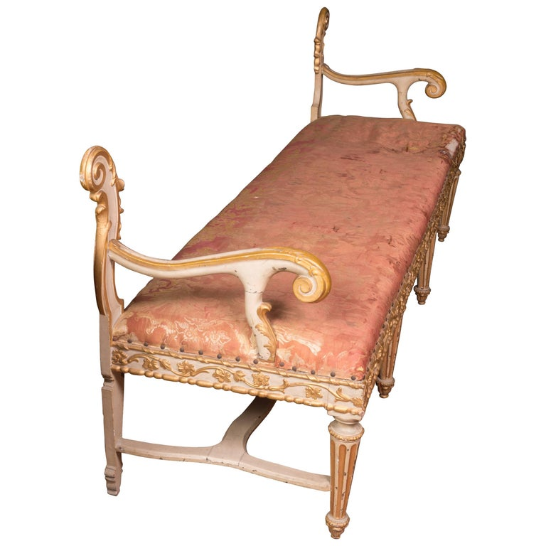 Fabulous 19th Century Italian Carved and Painted Venetian Bench