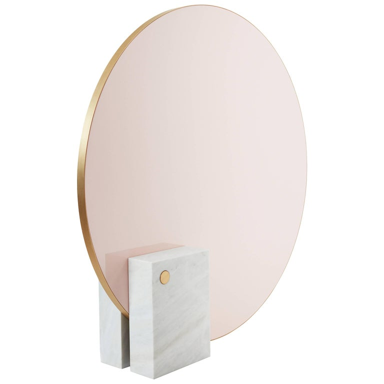 Kika Big Mirror or Screen in Estremoz Marble and Brass, Limited Edition For Sale