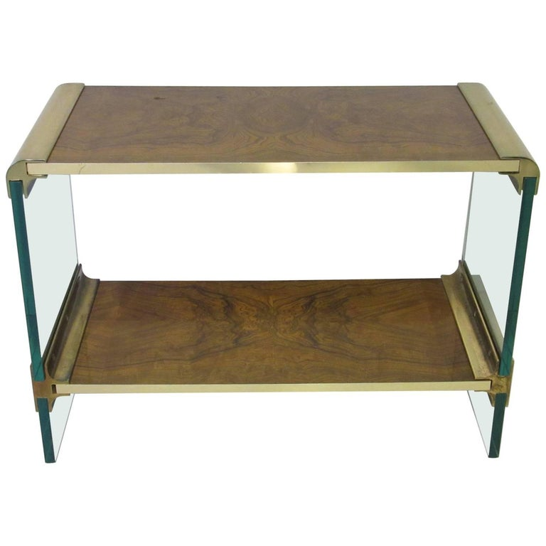 Pace Designed Small Glass, Brass and Burl Wood Console Table