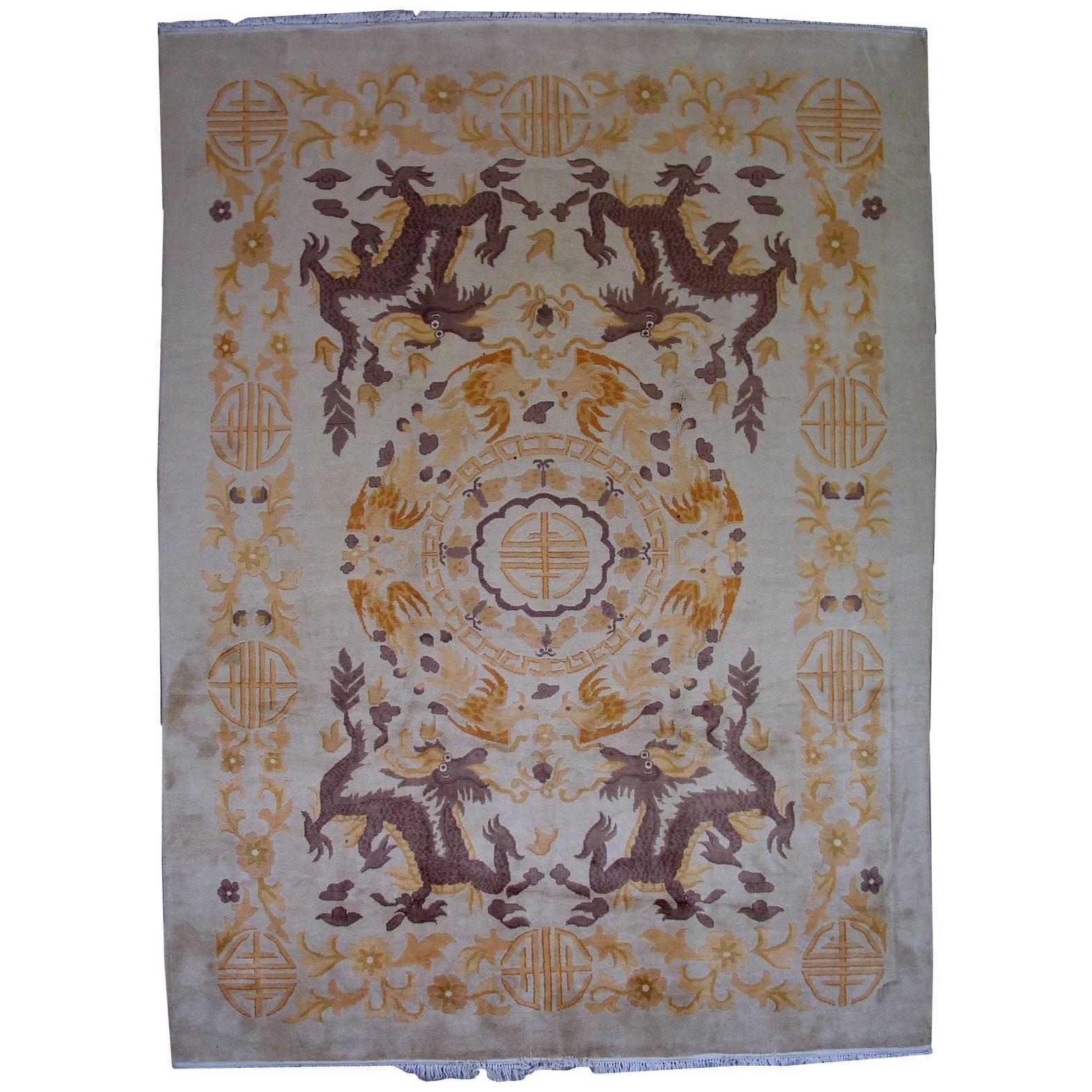 Handmade Antique Chinese Art Deco Rug, 1930s, 1L04