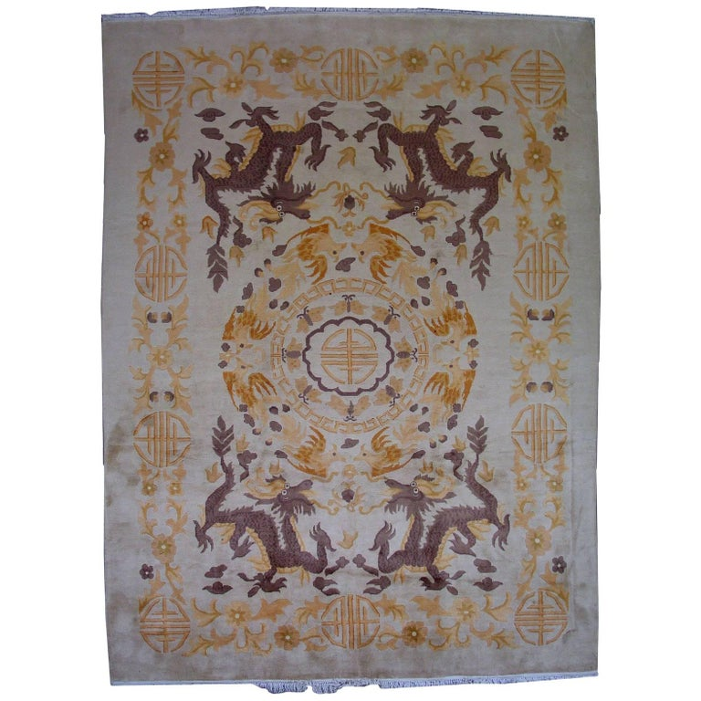 Handmade Antique Chinese Art Deco Rug, 1930s, 1L04 For Sale