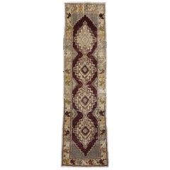 Distressed Vintage Turkish Oushak Rug Runner, Hallway Runner