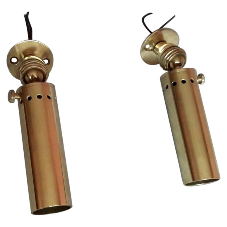 French Mid-Century Modern Pair of Brass Spotlights Sconces, 1950s