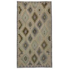 Vintage Turkish Kilim Rug with Southwestern-Coastal Chic Style