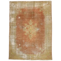 Distressed Antique Turkish Oushak Rug with Rustic French Country Farmhouse Style