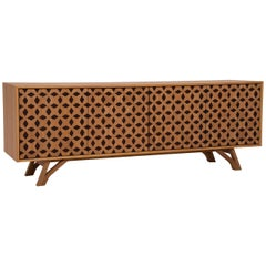 Colonia Brazilian Contemporary Graphic Pattern Cut Wood Sideboard by Lattoog