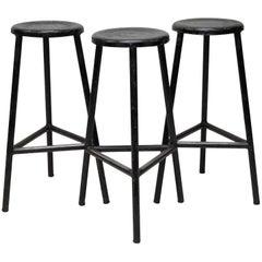 1960s Three Black Metal Italian Industrial Three-Legged Bar High Stools